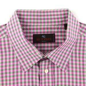 Etro Milano L/S Shirt Pink/Green Size 43 - 17 US